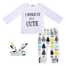 Infant Toddler Baby Girl Clothes Long Sleeve Letter T-Shirt with Headband Outfit Sets 3-Piece 0-3Y