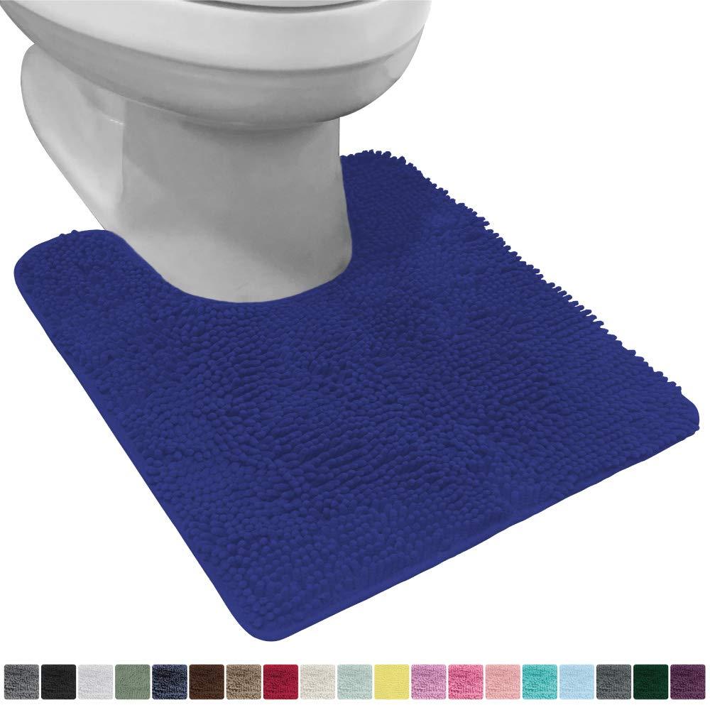 Gorilla Grip Original Shaggy Chenille Oval U-Shape Contoured Mat for Base of Toilet, 22.5x19.5 Size, Machine Wash and Dry, Soft Plush Absorbent Contour Carpet Mats for Bathroom Toilets, Royal Blue