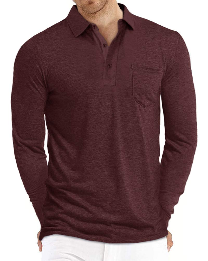 Pengfei Men's Polo Long Sleeve Shirt Performance Cotton Soft Stretch Solid Slim Fit Casual Shirts