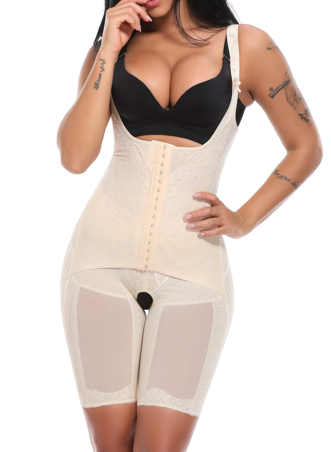 KIWI RATA Women's Open Bust Full Body Shaper Waist Trainer Girdle Mid Thigh Reducer Bodysuit Slimmer Tummy Control Shapewear