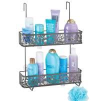 mDesign Wide Decorative Metal Over Shower Door Bathroom Tub & Shower Caddy, Hanging Storage Organizer Center - Built-in Hooks, Baskets on 2 Levels for Shampoo, Body Wash, Loofahs - Graphite Gray
