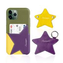 Cassenger Star Series Leather Case for iPhone 11 Pro-Comes with Matching Earphone Pouch and Cord Keeper- (Green/Purple)