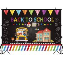 Allenjoy 7x5ft Back to School Themed Backdrop Colorful Painting Chalkboard Kids Welcome Party Classroom Decoration Banner Cartoon Pencil Drawing Photo Booth Background