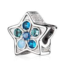 ATHENAIE 925 Sterling Silver Blue Crystals and Clear CZ Moon Star Beads Charms for Bracelet for Christmas