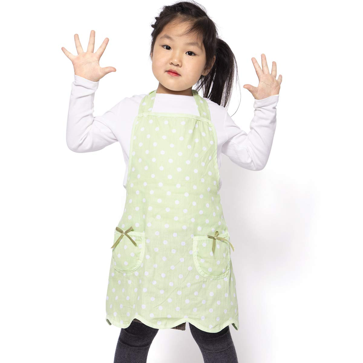 NEOVIVA Kids Apron with Pockets for Toddlers, Lightweight Child Apron for Play Kitchen, Style Wendy, Polka Dots Green