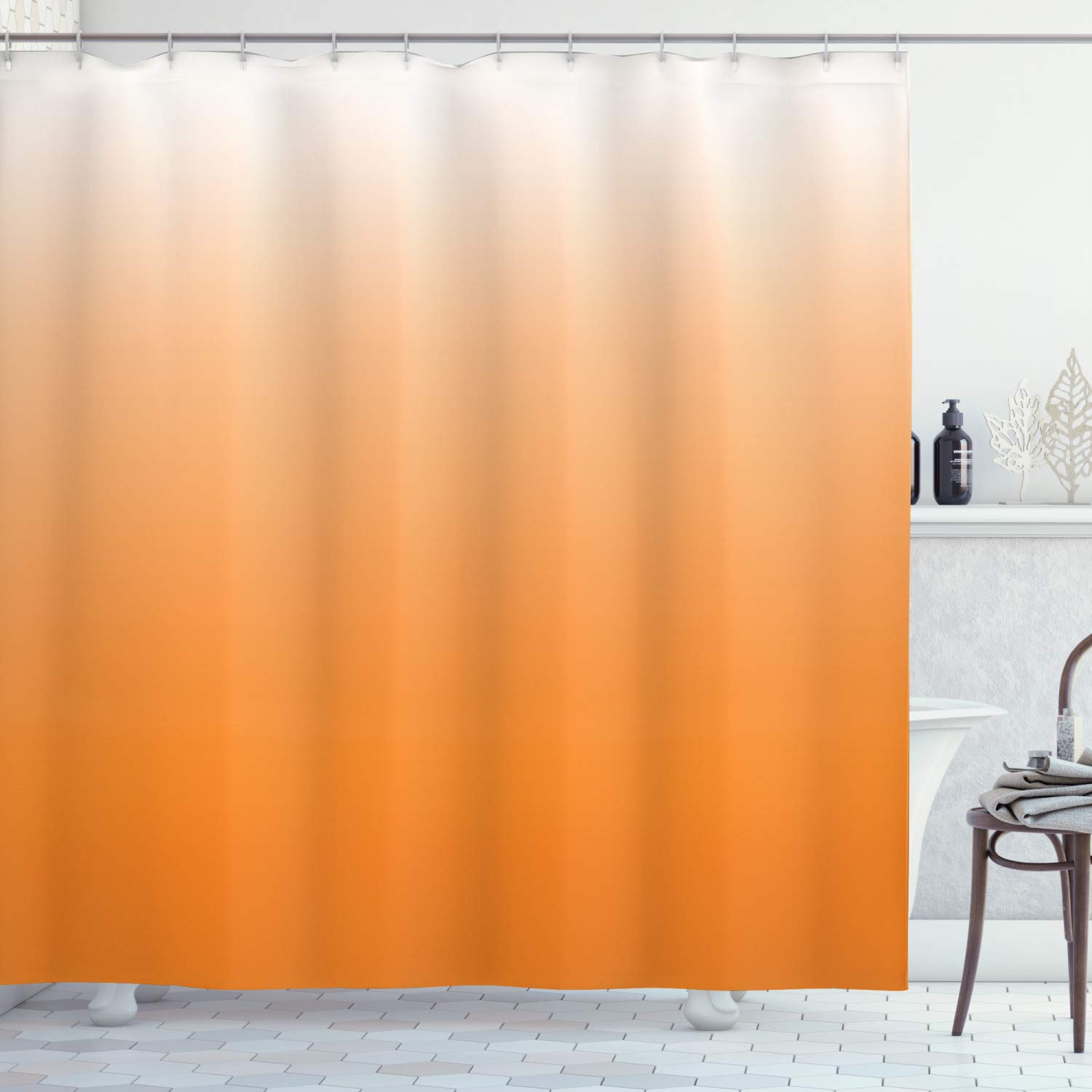"""Ambesonne Ombre Shower Curtain, Sunset Summer Inspired Orange Colored Modern Abstract Design Work of Art Print, Cloth Fabric Bathroom Decor Set with Hooks, 75"""" Long, Orange White"""