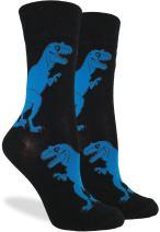 Good Luck Sock Women's Black T-Rex Dinosaur Crew Socks - Black, Adult Shoe Size 5-9