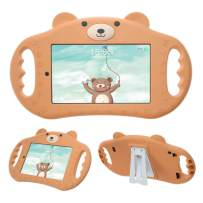 pzoz Tablet Case for Kids Compatible with 7 Tablet 7in Shock Proof Handle Protector Stand Girls Boys 7inch Cover for Tablet 7 inch 7th Edition Generation 2017 Release (Brown)