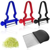 3 pcs Vegetable Peelers with Crinkle Wavy Chopper, FineGood Stainless Steel Blade Potato Peeler with French Fries Chips Fruit Chopping Knives