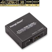 HDMI Splitter 1 in 2 Out, HengLiSam 4K 3D HDMI Splitter Pro HDMI1.4 HDCP1.2 3D 4K@30HZ FHD1080P for PS4 PS3 Xbox Fire Tv Stick Roku Blu-Ray Player TV HDTV Projector CCTV (Power Adapter Included)