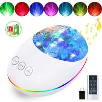 Night Light Projector Ocean Wave Projector for Kids with Timer & Remote, 8 Light Modes, Gifts for Boys & Girls 1 2 3 4 Years Old(Adapter Included Built-in Rechargeable Battery)