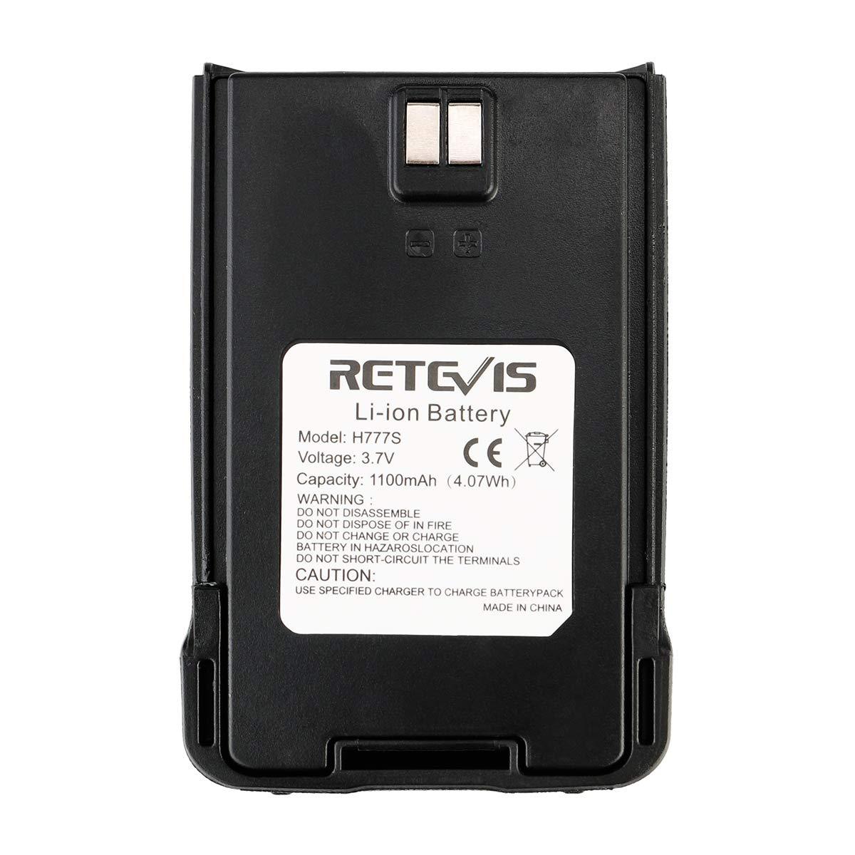 Retevis H-777S Two Way Radios Battery Rechargeable 3.7V 1100mAh Replacement 2 Way Radios Battery for Retevis H-777S RT24 Walkie Talkies (1 Pack)