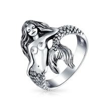 Nautical Marine Life Tropical Beach Nymph Siren Mermaid Ring For Women Oxidized 925 Sterling Silver 2MM Band
