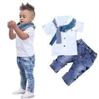 3Pcs Kids Clothing Boys Casual Short Sleeved Shirt + Denim Jeans Toddler Boy Summer Outfit Set