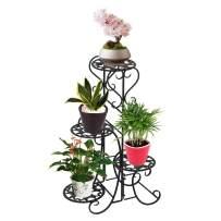 Plant Stand Metal Flower Holder Racks with 4 Tier Garden Decoration Display Wrought Iron 4 Layers Planter Rack Shelf Organizer for Indoor Outdoor, Black