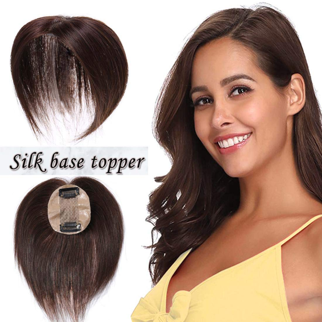 S-noilite Silk Base Real Human Hair Topper for Women Top Hairpiece Clips in Crown Hand Made Toupee Replacement Extentions for Hair Loss Thinning Hair Cover Gray Hair (12Inch #04 Medium Brown Color)