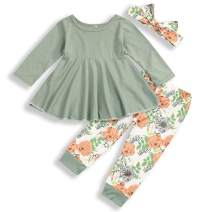 Toddler Baby Girls Clothes Long Sleeve Ruffle Dress Top and Pant 2Pcs Fall Winter Outfit Sets