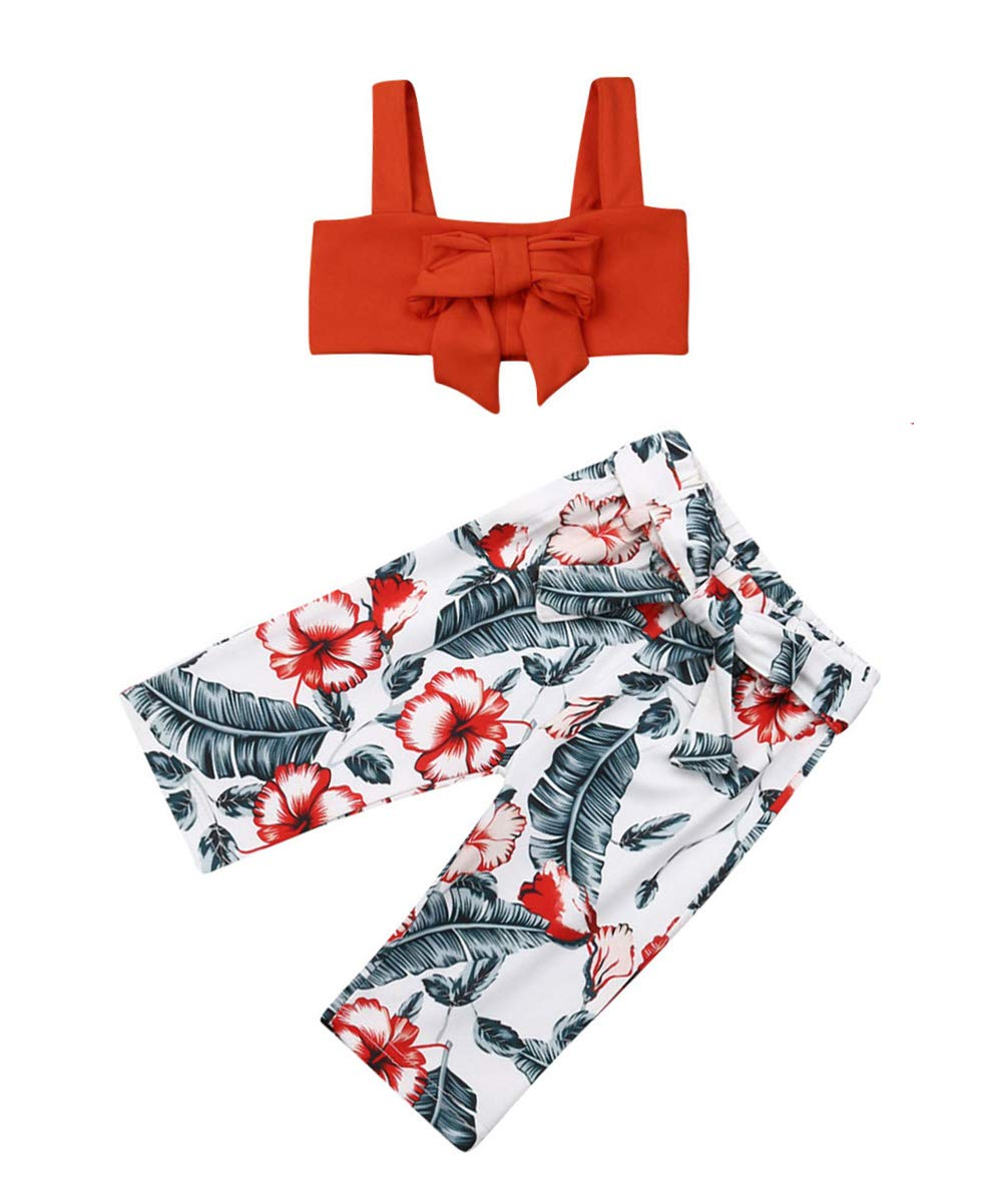 VISGOGO 1-6 Yrs Toddler Baby Kid Girl Outfit Halter T-Shirt Top + Flared Pants Clothes Set (Red-2, 3-6 Months)