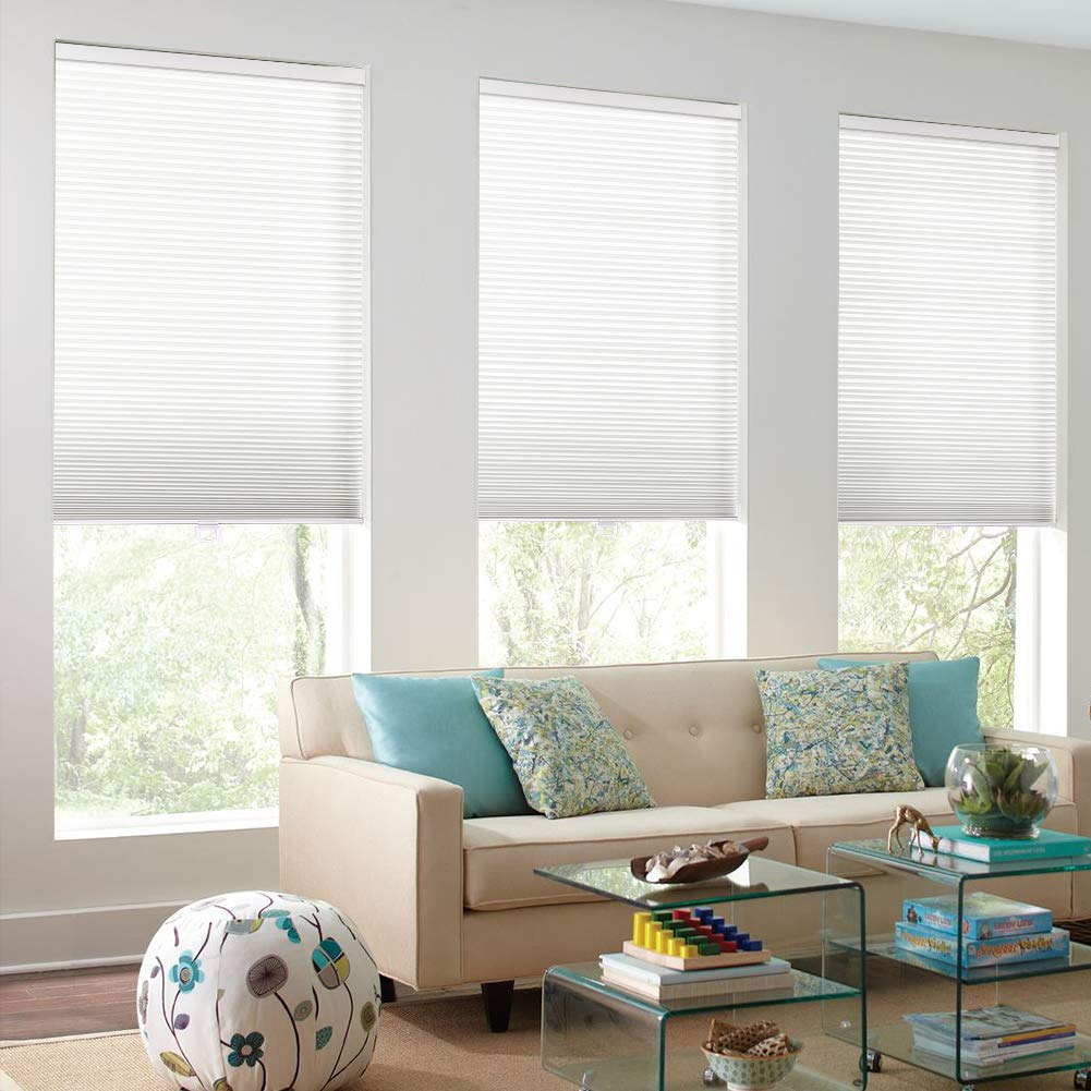 Milin Cordless Light Filtering Cellular Shades One Week Fast Delivery Window Blinds And Shades Custom Cut To Size Single Cell Honeycomb Shades Glacier White 16 W X 36 H