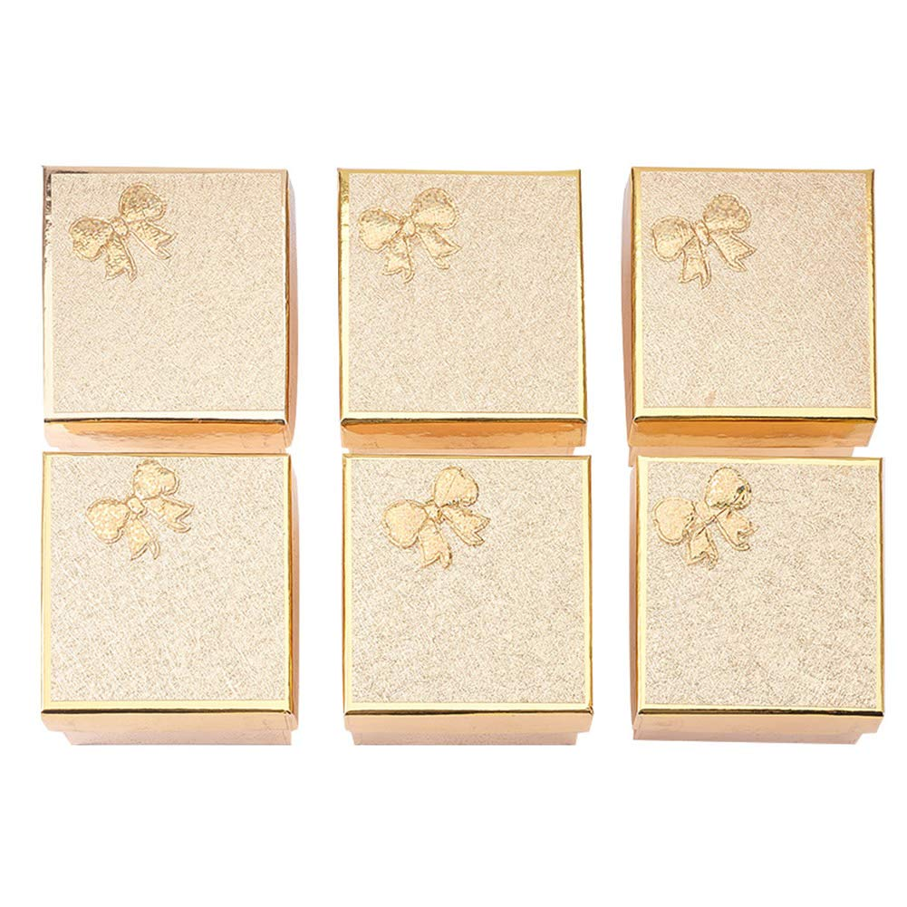 PandaHall Elite 6 Pcs Cardboard Jewelry Gifts Boxes with Sponge Pad 89x83x56mm for Jewelry, Rings, Necklaces, Bracelet, Earrings, Watch Packaging Box Gloden