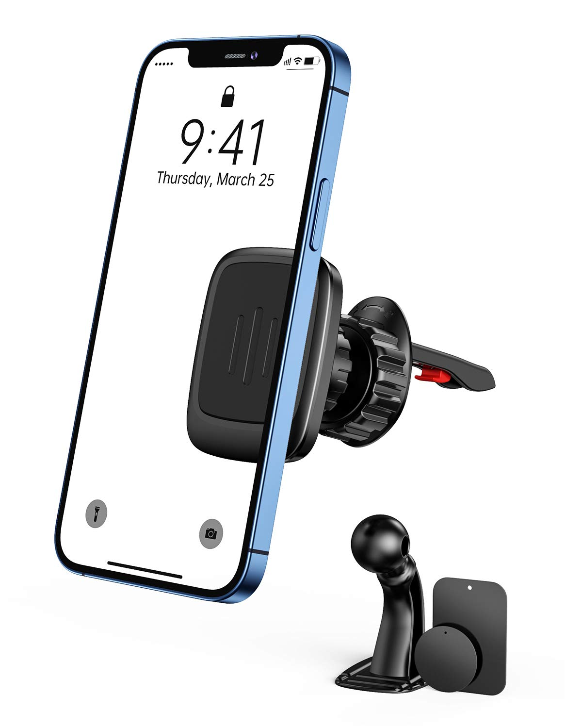 2021 GUSGU Phone Holder for Car, [Upgrated Clip] Magnetic Car Phone Holder, Air Vent Cell Phone Car Mount with Free VHB Adhesive Mounting for Dashboard, Compatible with iPhone,iPad,Samsung, LG, etc