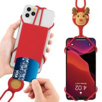 """Bone Cell Phone Lanyard with Card Holder, Universal Neck Phone Strap for iPhone 11 Pro Max, Galaxy S Pixel, Smartphone Detachable Case Silicone Straps, fits 4"""" to 6.5"""" Phone Tie (2nd Gen) - Mr. Deer"""