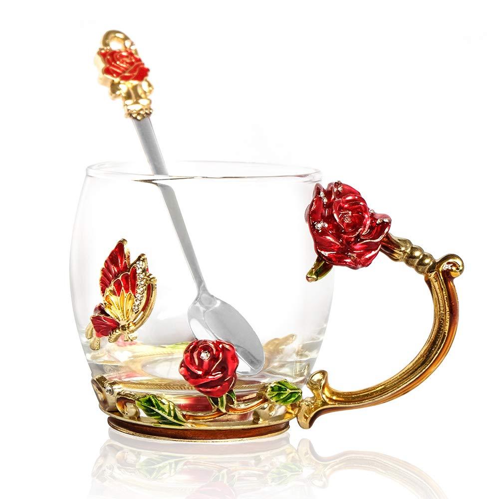POSTWAVE Tea Cup Coffee Mug Cups Clear Glass & Spoon Handmade rose Flower for Birthday Wedding Anniversary Valentine's Day Mom Grandma Wife Women Gift Cup