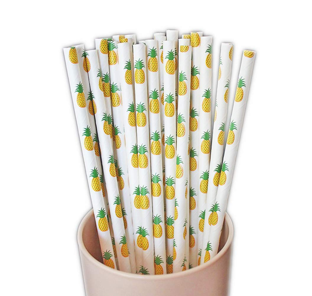 50-Pack Biodegradable Paper Drinking Straws for Party Supplies Bridal/Baby Shower Wedding Decorations, Bulk Paper Straws for Juices, Shakes, Smoothies, Pineapple Theme