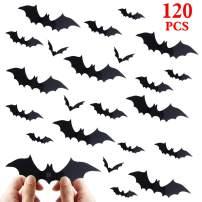 Halloween Bat Decorations Party Supplies - 120 PCS 3D Bats Wall Decals, Waterproof Spooky Bats Craft Window Decor, Scary Bats Wall Stickers for Indoor Outdoor Halloween Wall Decorations
