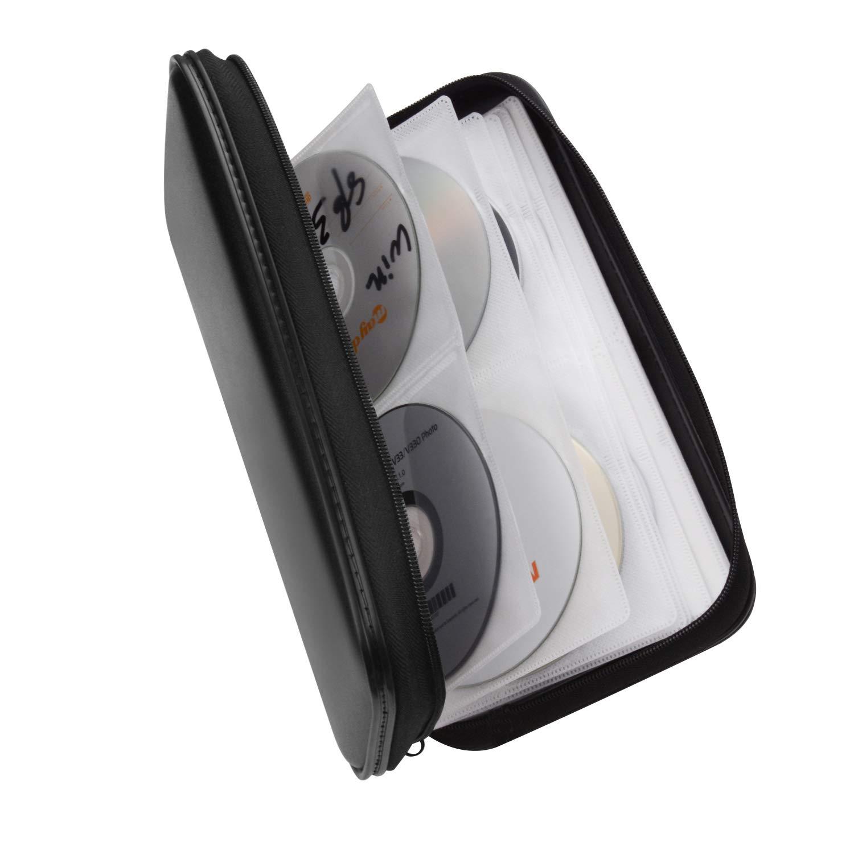 Bageek CD Case DVD Case 80 Capacity DVD Storage CD Holder DVD Wallet Organizer Flexible Plastic Protective