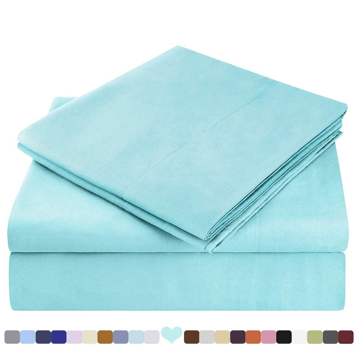 HOMEIDEAS Bed Sheets Set Extra Soft Brushed Microfiber 1800 Bedding Sheets - Deep Pocket, Wrinkle & Fade Free - 4 Piece(Queen,Aqua Blue)