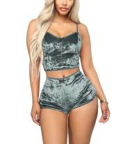Sexy Pajamas for Women - Two Piece Outfits Shorts + Crop Top Sleepwear Pjs Set
