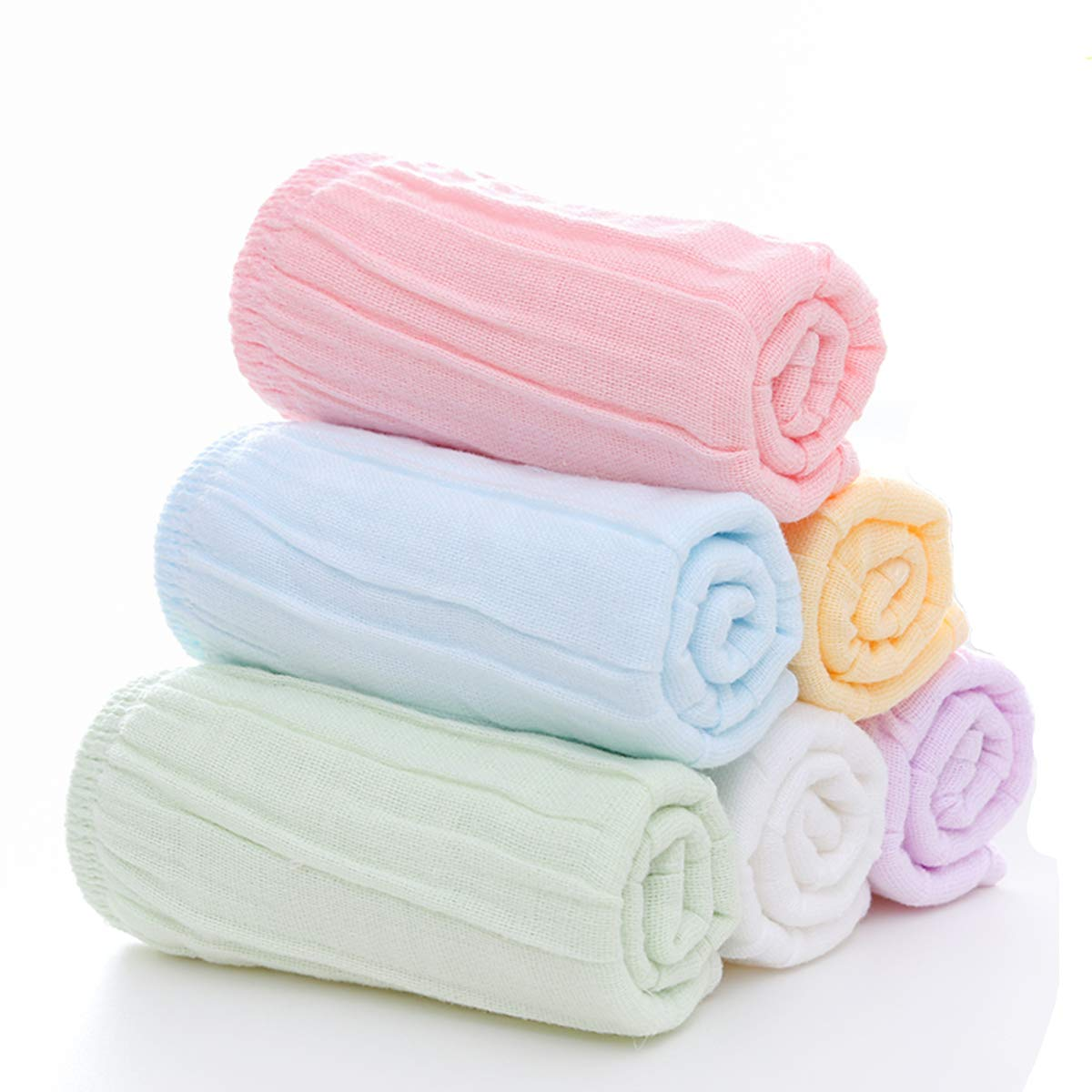 Baby Wash Cloth by MUKIN - Premium Baby Muslin Washcloths and Towels for Newborn Baby Face Towel -[New Designed with Organic Muslin Cotton & Elastic Hem]- Great Baby Shower Gift Set of 6(10x10inches)