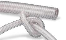 """AIRDUC 350 AS, Antistatic PU vacuum and transfer duct hose, clear, For Use With Dust, Chips, Shavings, ID 3"""", 25ft"""