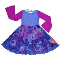 TwirlyGirl Long Sleeve Swing Dress for Girls with Ruffle Purple Swirly Pretty