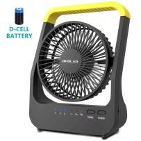 Battery Powered Fan, Super Long Lasting D-Battery Operated Fan with Timer for Camping, Portable D-Cell Battery Powered Desk Fan for Office, Bedroom, workshop,Outdoor,3 Speeds Fan, Whisper Quiet,5''