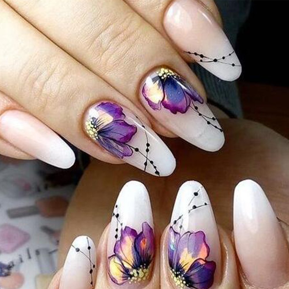 10pcs Nail Sticker Butterfly Flower Water Transfer Decal Sliders for Nail Art Decoration Tattoo Manicure Wraps Tools Tip