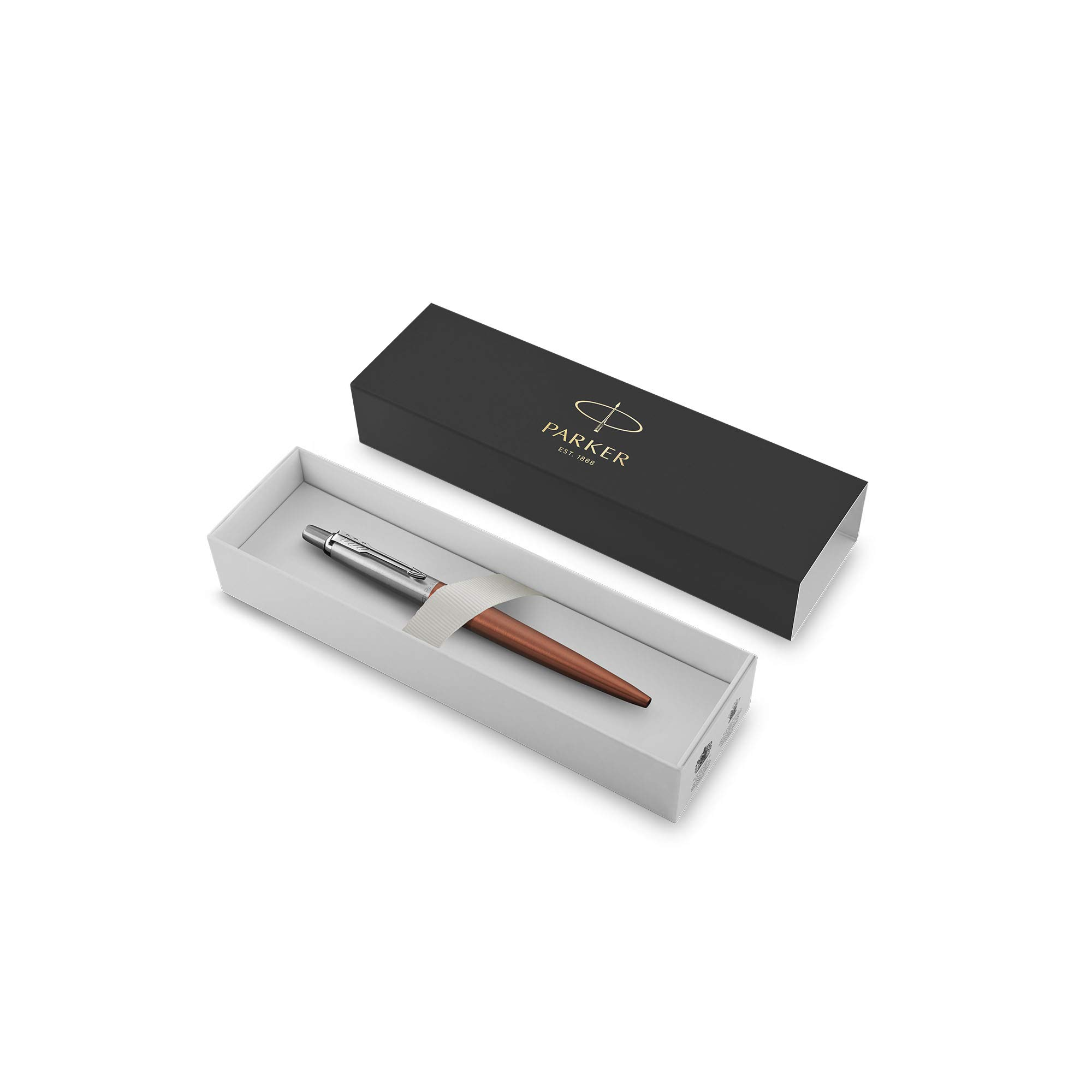 Parker 1953189 Jotter Ballpoint Pen, Chelsea Orange with Medium Point Blue Ink, Gift Box