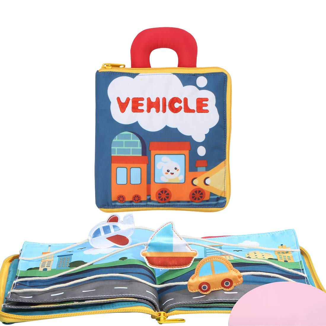 beiens 9 Theme My Quite Books, Soft Cloth Books with Mirror Fun Interactive Activity Baby Sensory Books, First Year Touch and Feel Early Education Toys Shower Gifts for Infants Babies Boys and Girls