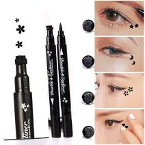 Pinkiou 1x Eyeliner Pencil Pen with Eye Makeup Stamp Waterproof Double Sided Long Lasting Seal Eyeliner Cosmetics Tool(Plum)