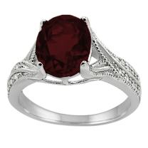 Oval Cut Garnet and Diamond Antique Ring in 10K White Gold