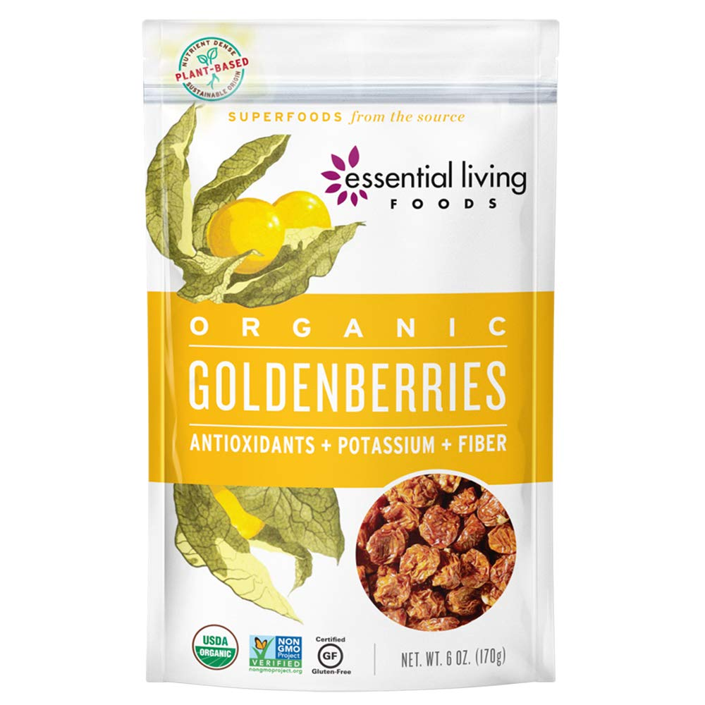 Essential Living Foods Organic Goldenberries, Dried, Highest Quality, Single Origin, Vegan, Superfood, Non-GMO, Gluten-Free, Kosher, 6 Ounce Resealable Bag