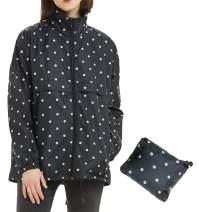 Mywu Rain Jacket Women Packable Lightweight Raincoat Waterproof Hooded Coats