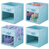 """mDesign Soft Fabric Closet Storage Organizer Cube with Front View Window Bin, Storage for Baby, Kids Room, Nursery, Toy Room, Furniture Units, 11"""" High - Turquoise/White Polka Dots - Set of 4"""