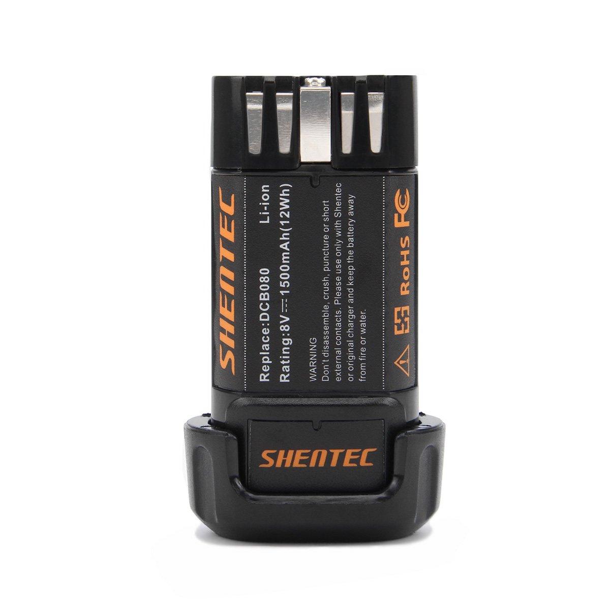 Shentec 1500mAh 8-Volt Replacement Battery Compatible with DEWALT DCB080 Dewalt DCF680N1 DW4390 DCF680N2 DCF680G2, Li-ion Battery