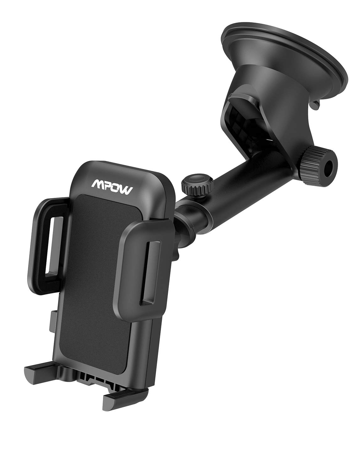 Mpow Upgrade Dashboard Car Phone Mount, Adjustable Windshield Holder Cradle with Strong Sticky Gel Pad Compatible iPhone 11 Pro/ Max/X/XS/XR/8Plus/8/7Plus/7/6Plus, Galaxy S8/9/10, Google, Black