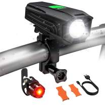 USB Rechargeable Bike Light Set, Runtime 5+ Hours 450 Lumens LED Super Bright Front Light with Free Tail Light, Waterproof, 5 Light Mode and Easy to Install Fits All Bicycles