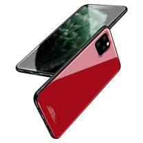 BeautyWill Case for iPhone 11 Pro Max Tempered Glass Case Scratch-Resistant Pure Color Soft TPU Bumper Shockproof Cover with Lanyard Hole Red