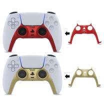 BEJOY PS5 Controller Faceplates, DIY Replacement Shell Decoration Accessories, Customized Controller Shell for Playstation 5 DualSense Controller, 2 Pack, [Red, Gold]