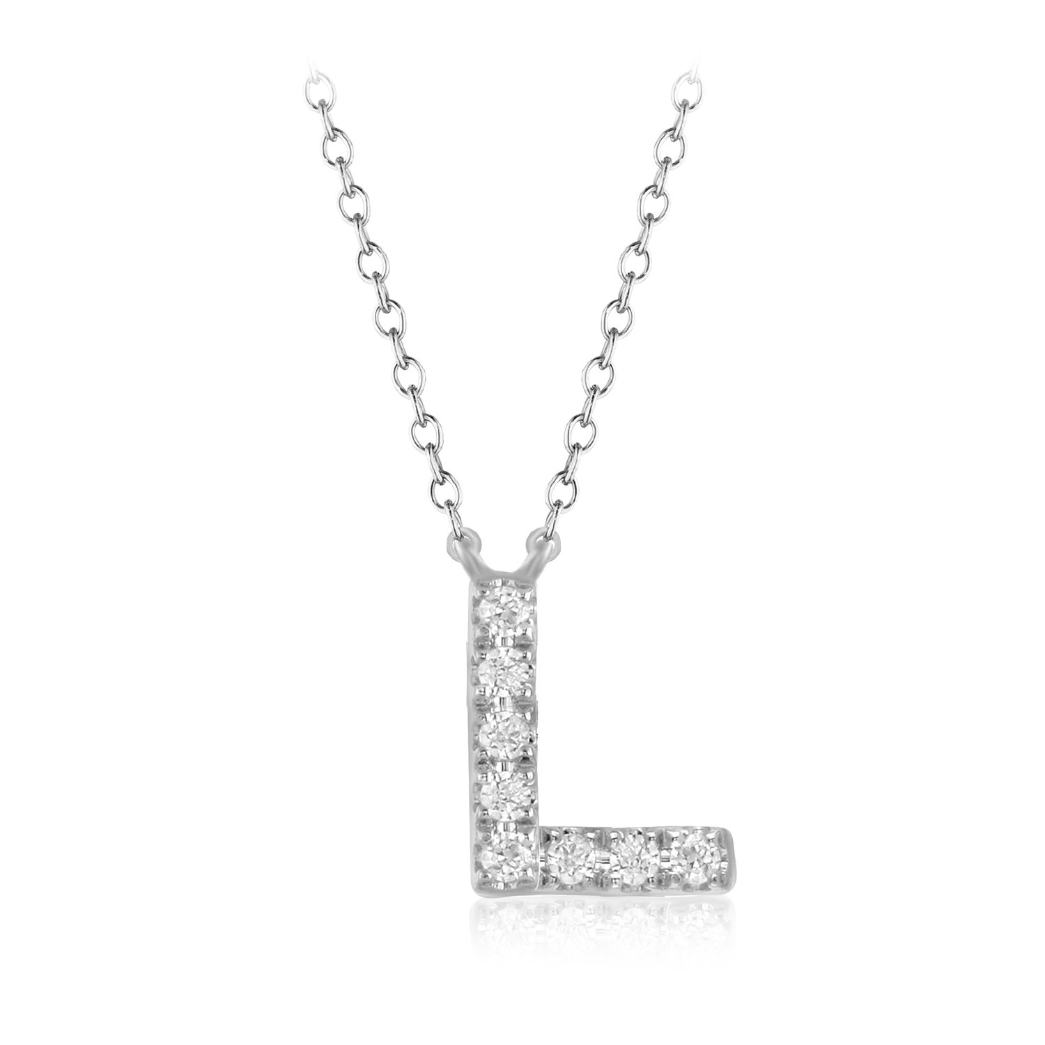 """CARATS FOR YOU 925 Sterling Silver, Round Cut Real Natural Diamond""""L"""" Initial Alphabet Pendant Chain Necklace For Women, 18 inch"""
